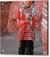 Beautiful Girl At Petra Jordan Acrylic Print by Eva Kaufman