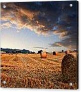 Beautiful Hay Bales Sunset Landscape Digital Paitning Acrylic Print by Matthew Gibson