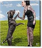 Beautiful Woman And Pit Bull Acrylic Print by Rob Byron