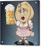 Beer Stein Dirndl Oktoberfest Cartoon Woman Grunge Color Acrylic Print by Frank Ramspott