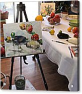 Behind The Scene - Eggplants And Fruits Acrylic Print by Becky Kim