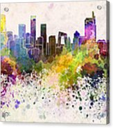 Beijing Skyline In Watercolor Background Acrylic Print by Pablo Romero