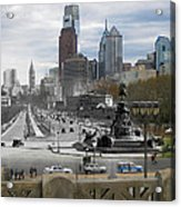 Ben Franklin Parkway Acrylic Print by Eric Nagy