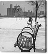 Bench At Belle Isle With Detroit I Acrylic Print by John McGraw