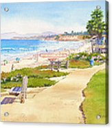Benches At Powerhouse Beach Del Mar Acrylic Print by Mary Helmreich