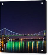 Benjamin Franklin Bridge At Night From Penn's Landing Acrylic Print by Bill Cannon