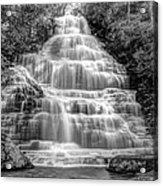 Benton Falls In Black And White Acrylic Print by Debra and Dave Vanderlaan