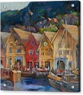 Bergen Bryggen In The Early Morning Acrylic Print by Joan  Jones