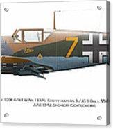 Bf 109f-4/r-1 W.nr.13325. Staffelkapitan 9./jg 3 Oblt. Viktor Bauer. June 1942. Shchigry Acrylic Print by Vladimir Kamsky