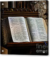 Bible Open On A Lectern Acrylic Print by Louise Heusinkveld