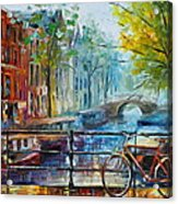 Bicycle In Amsterdam Acrylic Print by Leonid Afremov