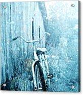 Bicycle In Blue Acrylic Print by Stephanie Frey