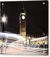 Big Ben With Light Trails Acrylic Print by Jasna Buncic
