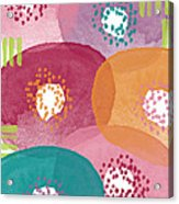 Big Garden Blooms- Abstract Florwer Art Acrylic Print by Linda Woods