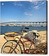 Bike And A Brdige Acrylic Print by Peter Tellone