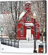 Billie Creek Village Winter Scene Acrylic Print by Virginia Folkman