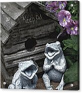 Birdhouse With Frogs Acrylic Print by Bonnie Willis