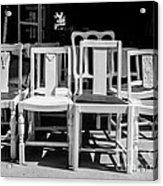 Black And White Chairs Acrylic Print by Sonja Quintero