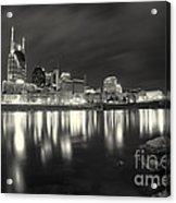 Black And White Image Of Nashville Tn Skyline  Acrylic Print by Jeremy Holmes