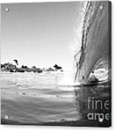 Black And White Santa Cruz Wave Acrylic Print by Paul Topp