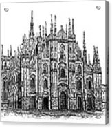 Black And White With Pen And Ink Drawing Of Milan Cathedral  Acrylic Print by Mario Perez