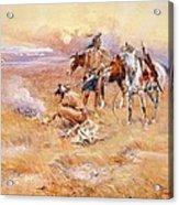 Black Feet Burning The Buffalo Range Acrylic Print by Charles Russell