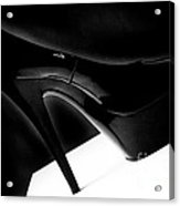 Black Sexy Stiletto Heels 1 Acrylic Print by Linda Matlow