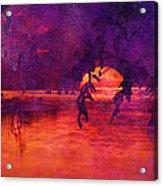 Bleeding Sunrise Abstract Acrylic Print by J Larry Walker