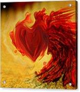 Blood Red Heart Acrylic Print by Linda Sannuti