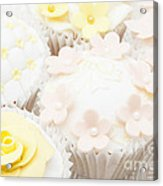 Blossoms And Bows Cupcake Acrylic Print by Anne Gilbert