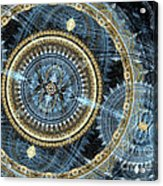 Blue And Gold Mechanical Abstract Acrylic Print by Martin Capek
