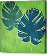 Blue And Green Palm Leaves Acrylic Print by Linda Woods