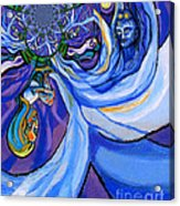 Blue And Purple Girl With Tree And Owl Upside Down Acrylic Print by Genevieve Esson