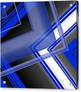 Blue And White Geometric Art Acrylic Print by Mario Perez