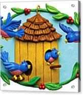 Blue Birds Fly Home Acrylic Print by Amy Vangsgard