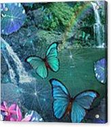 Blue Butterfly Dream Acrylic Print by Alixandra Mullins