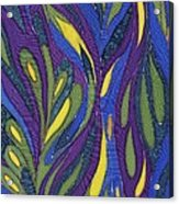 Blue Green Purple Abstract Silk Design Acrylic Print by Sharon Freeman