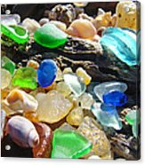 Blue Green Seaglass Art Prinst Agates Shells Acrylic Print by Baslee Troutman
