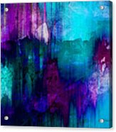 Blue Rain  Abstract Art   Acrylic Print by Ann Powell