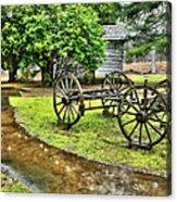Blue Ridge Parkway Vintage Wagon In The Rain I Acrylic Print by Dan Carmichael