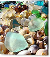 Blue Seaglass Beach Art Prints Shells Agates Acrylic Print by Baslee Troutman