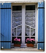 Blue Window Shutters Acrylic Print by Georgia Fowler