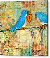 Bluebird Painting - Art Key To My Heart Acrylic Print by Blenda Studio