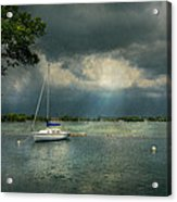 Boat - Canandaigua Ny - Tranquility Before The Storm Acrylic Print by Mike Savad