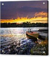 Boat On Lake At Sunset Acrylic Print by Elena Elisseeva