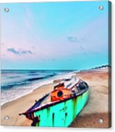 Boat Under Morning Moon Outer Banks I Acrylic Print by Dan Carmichael