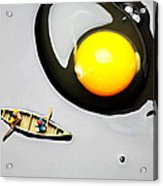 Boating Around Egg Little People On Food Acrylic Print by Paul Ge
