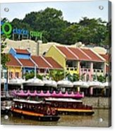 Boats At Clarke Quay Singapore River Acrylic Print by Imran Ahmed