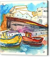 Boats In Ericeira In Portugal Acrylic Print by Miki De Goodaboom