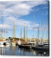 Boats In Port Vell Acrylic Print by Fabrizio Troiani